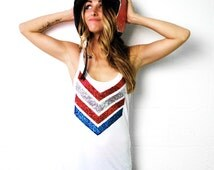 4th of July Shirt. 4th of July Tank Top. 4th of July Sequin Chevron. American Flag Shirt. Red White and Blue. Chevron Tank. 1D One Direction