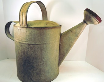 Vintage Watering Can Huge Chic Cottage Watering Pail Farmhouse Vegetable Watering Can