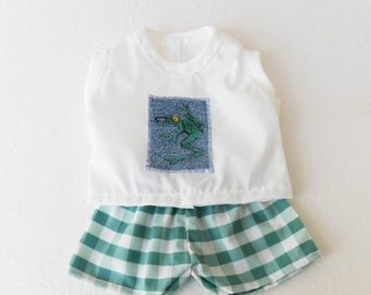 """Bitty Baby boy Clothes Handmade Twin Girl Baby Doll 15"""" White green frog embroidered sleeveless shirt, green plaid shorts 2pc spring summer"""