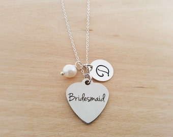 Bridesmaid Necklace - Birthstone Necklace - Personalized Initial Necklace - Sterling Silver Necklace - Gift for Her