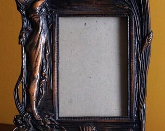 Art Nouveau Mirror, Art Nouveau Easel Back Vanity Dresser Mirror Picture Frame Maiden with Flowers