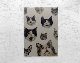 Cat Notebook // OMG Illustrated Cats // Lined Journal, Eco-Friendly Recycled Stationary