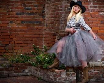 Adult tutu tea length tulle skirt rustic cowgirl skirt sewn tutu wedding bridesmaid tutu skirt skirt for women womens skirts womens clothes