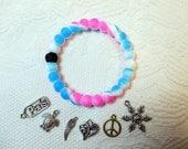 Silicone Bracelet, Pink Blue White, MEDIUM, w/ Charm, Fashion JEWELRY!!!