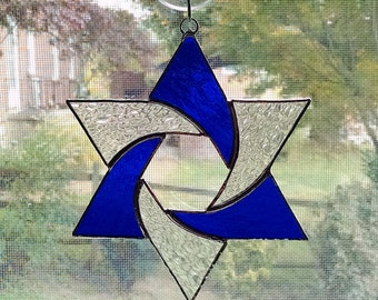 Stained Glass Star Suncatcher - Star of David - Hanukkah Gift - Jewish Decor - Jewish Star - Religious Decor - Star Ornament