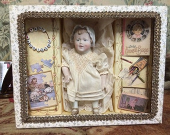 Heubach All-Bisque Travel Doll Moe Precious Presentation Box Reproduction OOAK