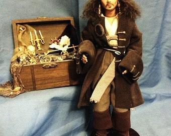 "Mary Gukich Original Porcelain Pirate Doll 12"" OOAK"