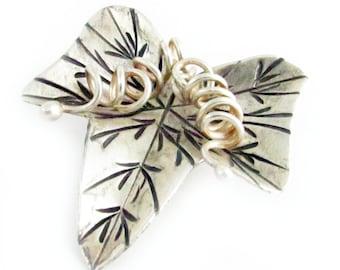 Leaf Pendant, Hill Tribe Pendant, Jewelry Pendant, Silver Leaf Charm, Destash Findings, Silver Leaf Pendant