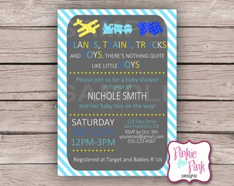 Personalized Baby Boy Shower Planes, Trains, Trucks and Toys Invitation- Blue and Yellow- Digital File Download