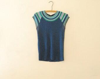 Sparkly Blue Lurex Shirt - 1980s