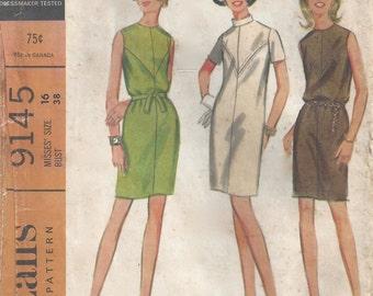 60's Shift Dress Pattern Sz 16 Bust 38 McCalls 9145