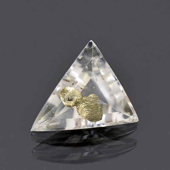 Quartz With Gold Inclusions : Fascinating quartz with pyrite inclusions from brazil
