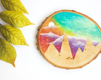 """Mountain Painting with Pastel Sky, 3.5"""" Wood Slice Painting, Rainbow Mountain Wood Painting, Hand-Painted Mountain Painting, Wood Slice Art"""