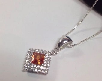 2ct Princess Cut Orange Padparadscha Sapphire Sterling Silver With White Sapphire Accents Pendant Necklace Fine Jewelry Gift Orange Sapphire