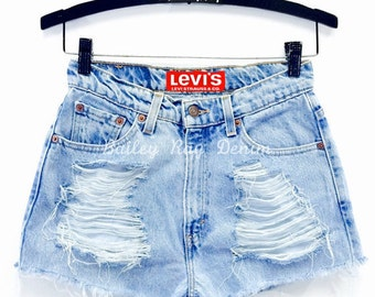 Levis High Waisted Denim Shorts Distressed Jean Shorts
