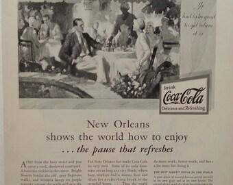 1930 Coca Cola New Orleans magazine ad Old South segregation