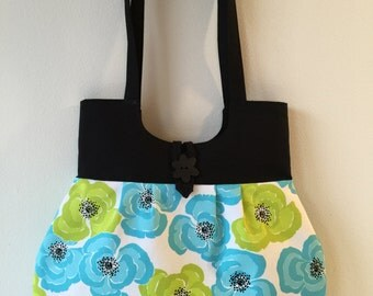 blue and green flower print purse, summer shoulder bag