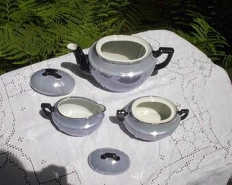 Periwinkle Blue and Black Lusterware Tea Service, Made In Germany, Tea Pot, Creamer, Sugar