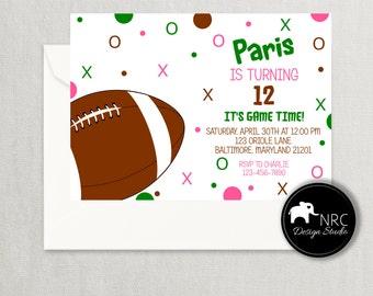 Football Invitation, Football Birthday Invitation, Football Party, Printable Invitation, Girl V2 | NRCDesignStudio