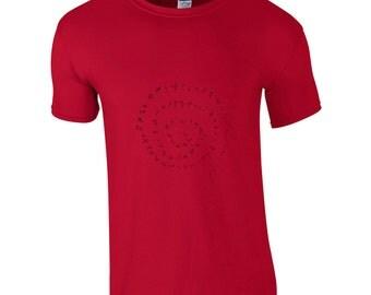 Stickmen t shirt, gift for him, spiral tee, hand drawn shirt, stick figures, funky t shirt