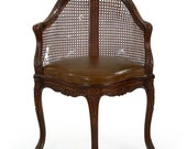 French Provincial Antique Carved Arm Chair w/ Leather Seat, 604AIQ12