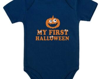 My First Halloween Pumpkin Face Short Sleeve Baby Onesie