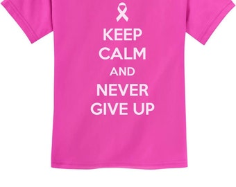 Keep Calm and Never Give Up - Cancer Awareness - Youth Short Sleeve T-Shirt