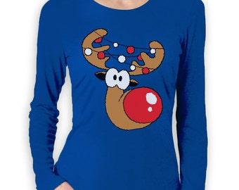 Reindeer Head Lights Cute Christmas Women's Short Sleeve T-Shirt