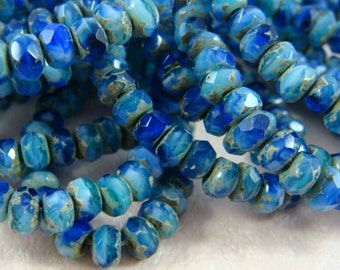 Czech Beads, 5x3mm Rondelle, Czech Glass Beads - Cobalt Blue and Aqua Blue Picasso Rondelle (R5/RJ-1772) - Qty 30