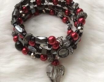 Women's Heart Bracelet - Crystal Heart Bracelet - Triple Wrap Bracelet - Pearl Bracelet -