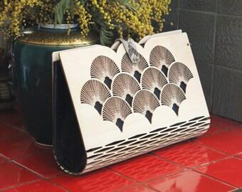 Sale! Modern wooden , silk  handbag ,  Wooden clutch, Wood handbag, Clutch bag, GREAT GIFT IDEA, art deco clutch