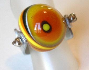 Yellow-black glass bead ring / Yellow-Black GLASS Bead Ring