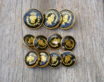 Gold And Black Buttons, Vintage Brass Shank  Buttons,  Sewing Supplies