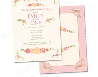 Shabby Chic Birthday Invitation , Floral Birthday Invitation, Shabby Chic Birthday, Girls Birthday Invitation, Vintage Birthday Invitation