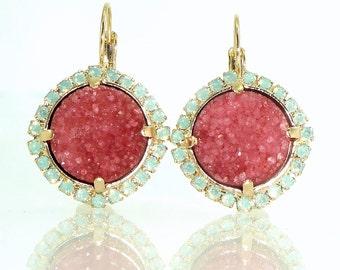 Gemstone Earrings, Drop Stone Earrings, Geode Earrings, Dangle Druzy Earrings, Crystal Earrings, Pink Earrings, Statement Earrings, Gift.