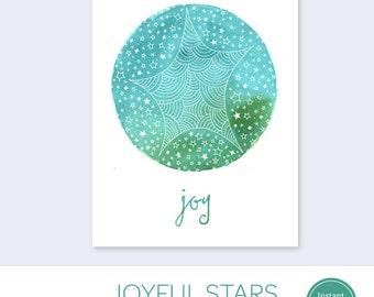Printable Holiday Card - Joy Christmas Card - Christmas Card PDF - Instant Download Holiday Card - Printable Christmas Star Card
