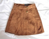 70s Brown Suede Mini Skirt / XXS - 32 / Boho Hippie Genuine Suede Skirt / Women's Mini Skirt