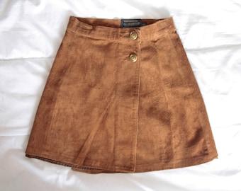 70s Brown Suede Mini Skirt / Boho Hippie Genuine Suede Skirt / Women's Mini Skirt / XXS