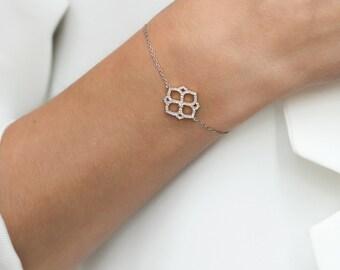 Hexagon Bracelet, Sterling Silver Bracelet, Dainty Silver Bracelet, Charm Bracelet, Delicate Silver bracelet, Crystal Silver Bracelet,B208-S