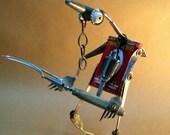 "Recycling RUSTY  ROBOT SCULPTURE -""Anubis warrior ""- assemblage art,metal sculpture,fantasy art sculpture,the jackal-god,reused sculpture"