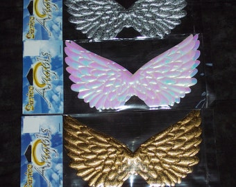 4.75 inch Angel wings,gold,iridescent white or silver,embossed,slightly padded,2 /pkg,Darice,dolls,crafts,Christmas
