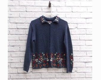 SALE 30% off | Vintage Blue Sweater | Women's Floral Cardigan | Spring Cardigan