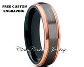 Brushed Rose Gold Tungsten Wedding Band,Anniversary Ring,Engagement Ring,18k Rose Edges,Gunmetal Tungsten Band,Comfort Fit,Brushed Style