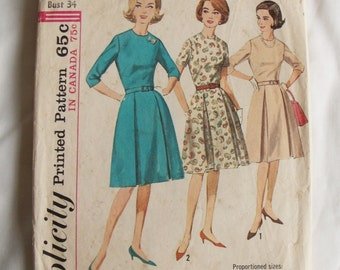 1960s vintage Simplicity dress sewing Pattern size 14 bust 34 printed 5086