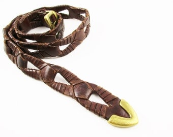 "A Soft BoHo Belt of Leather and Brass - Brass Buckle and End Clip - Flexible Woven Leather - 36"" Bachrach Belt - Leather Belt"