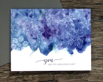 You Are My Greatest Gift Greeting Card - Holiday Christmas Watercolor Non-Traditional Colors For Spouse Boxed Set Snowflake  [031]
