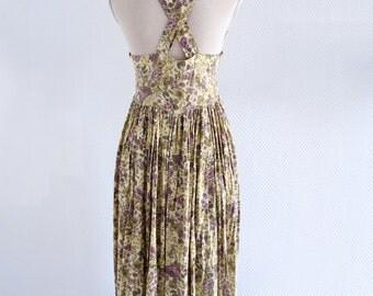 Floral cross back dress 80s