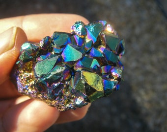 Powerful Titanium Aura Quartz Cluster, Aura Crystal, Titanium Quartz, Metallic, Rainbow Quartz, Titanium Stone, Great Synergy Cluster! ! !