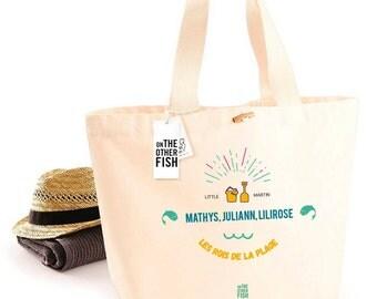 """The Kings of the beach"" beach bag, Tote custom bag, tote bag, bag fabric, cotton, french, Sun, family gift bag"