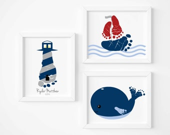 Nautical Nursery Art Print Set, Baby Footprint Sailboat, Lighthouse, Whale, Boy's Rooms Decor, Personalized Your Child's Footprints UNFRAMED